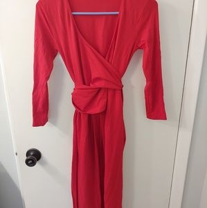 Maternity wrap red dress